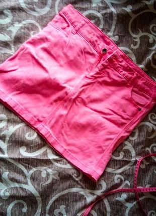 1+1=3 розовая джинсовая юбка