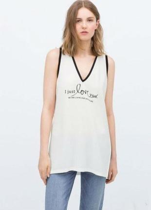 Zara комбинированная удлиненная футболка с надписью