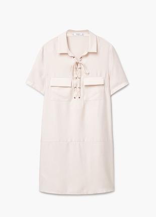 Платье рубашка mango сафари оверсайз платье мини короткое пудровое платье футболка