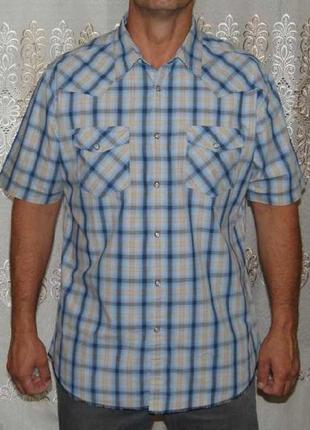 Рубашка в сине-бежевую клетку на кнопках