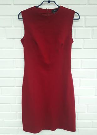 Шерстяное  красное миди платье zara   кашемир сукня плаття