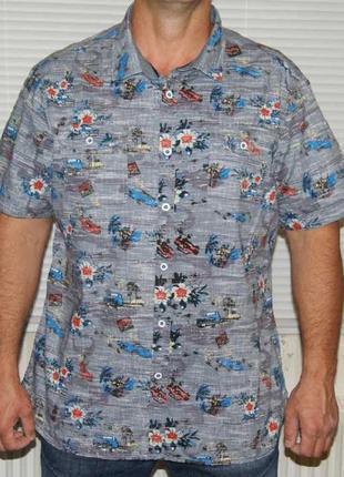 """Рубашка серая с """"гавайским"""" рисунком"""