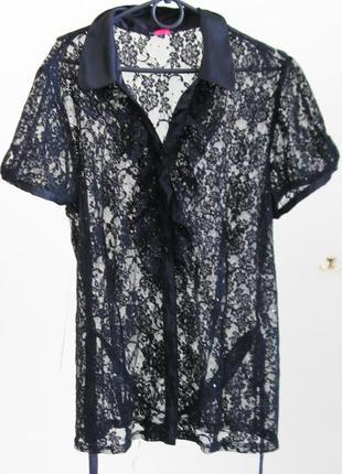 14-16 брендовая шикарная кружевная блуза с паетками