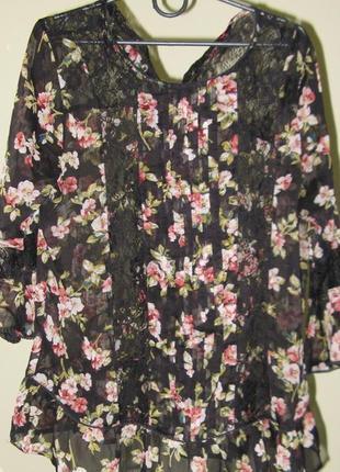 12-14 красивая шифоновая блуза с кружевными вставками
