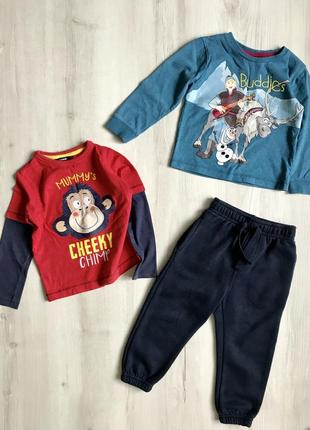Набор на 2-3 года, реглан, кофта, спортивные штаны,  george, disney, rebel
