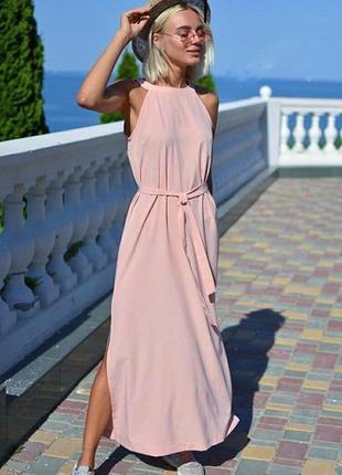 1a4bd6f4c Платье тренд модное пудра розовое под горло американская пройма halter neck