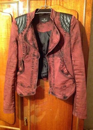 Крутая джинсовая, куртка цвета марсала, жакет, пиджак, куртка с кожаными вставками 💗💗💗