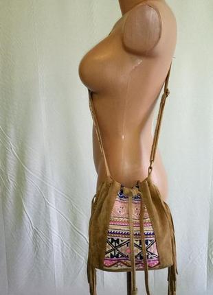 Сумка сумочка мешок accessorize натуральная замша.