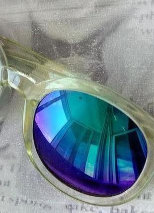 Зеркальные женские солнцезащитные очки хамелеоны, оправа желтая полупрозрачная