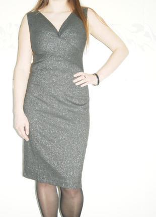 Платье темно серое с серебристой люрексной нитью