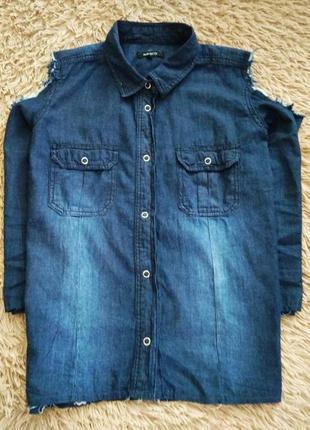 Джинсовая рубашка,с откритими плечами pep&co