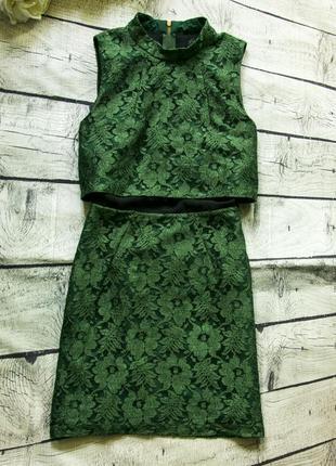 Гипюровое платье, шикарный изумрудный цвет topshop