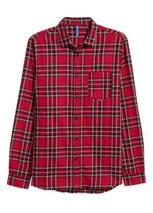 Мужская красная фланелевая рубашка в клетку h&m s,m,l