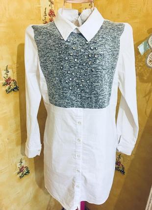 Платье рубашка белое с камнями