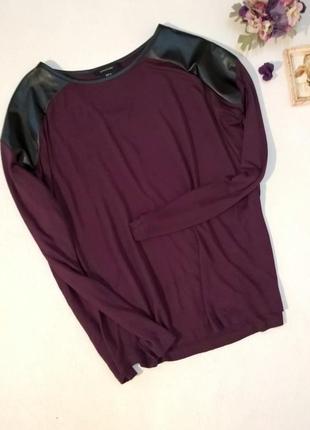 Оверсайз лонгслив футболка длинный рукав с вставками из кожзама