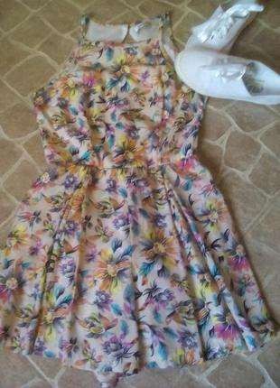 Шикарный шелковый ромпер (юбка-шорты),комбинезон trend up