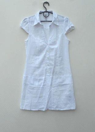 Белое летнее легкое хлопковое платье рубашка с воротником