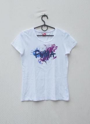 Белая хлопковая футболка с надписью puma