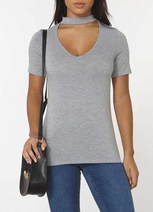 Меланжевая длинная удлиненная базовая футболка топ с чокером с v вырезом