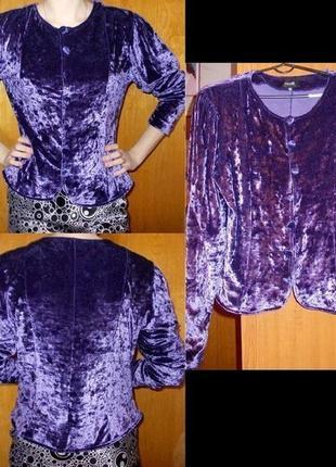 Фиолетовый велюровый пиджак/ жакет от oodji