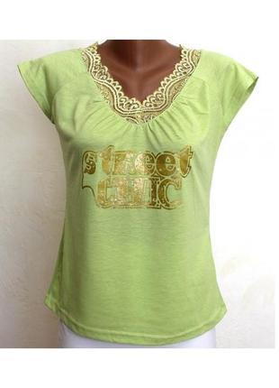 M- нежная зеленая футболка с кружевом, идеальное сост