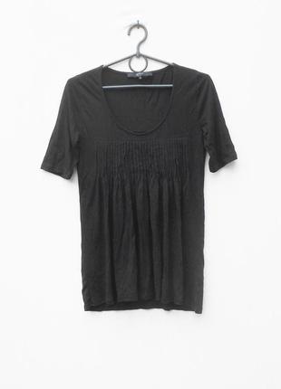 Черная трикотажная летняя блузка из вискозы