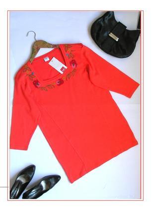 Xl- cotton club-туника футболка с вышивкой, 100% хлопок, большой размер, с биркой.