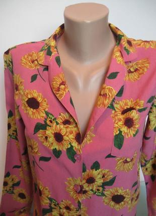 Блуза топ рубашка с подсолнухами -яркая летняя вещь!