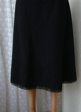 Юбка черная демисезонная деловая офисная костюмная кружево sure р.46 №6107