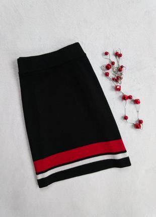 Модная юбка с красной и белой полоской,   высокая талия new look  s