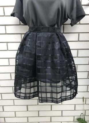 Шикарная,чёрная,прозрачная в клетку юбка,вечерняя