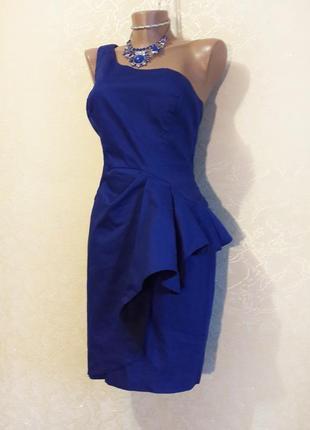Стильное платье индиго синее на одно плечо