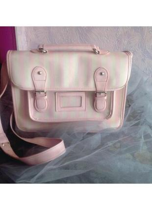 Очень крутая сумка atmosphere в нежно розовую и белую полоску с длинной ручкой