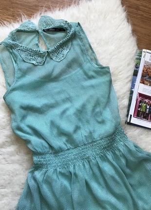 Zara мятное летнее платье