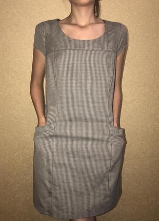 Офисный стильный сарафан платье с карманами