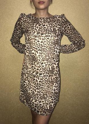 Классное вечернее коктейльное леопардовое платье