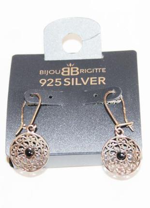 Серьги в стиле этно бохо с черными камнями серебро 925 немецкий бренд bijou brigitte