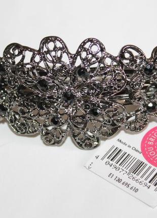 Шикарная заколка для волос автоматик с черными камнями немецкого бренда bijou brigitte