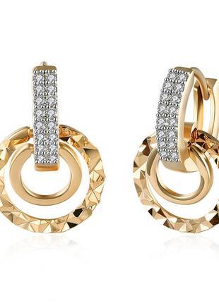 Позолоченные серьги кольца цирконий