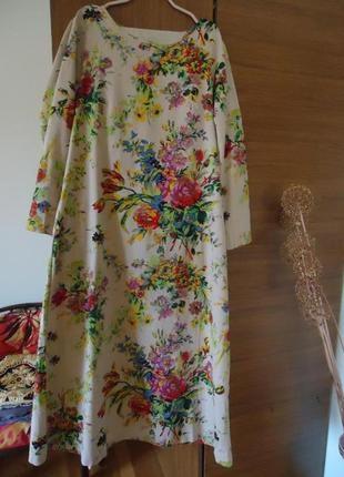 Платье цветочний принт бохо хлопок+ лен
