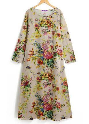 Платье цветочний принт бохо хлопок+ лен3 фото
