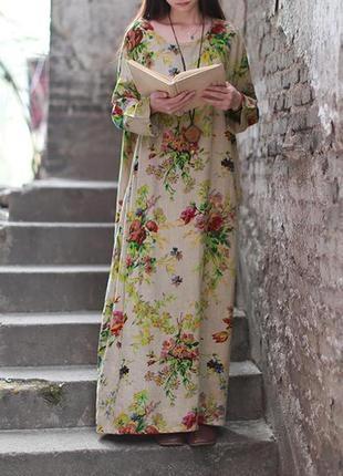 Платье цветочний принт бохо хлопок+ лен4 фото