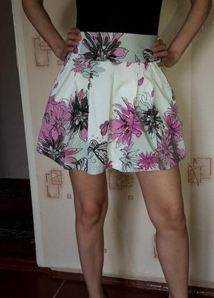 Хлопковая юбка без подкладки, высокая посадка, пышная
