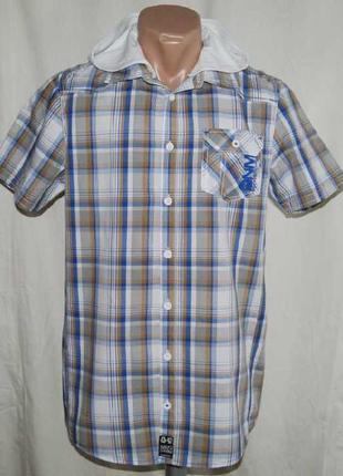 Рубашка в клетку с трикотажным капюшоном dnm73