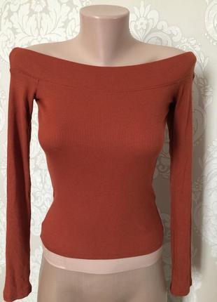 Кофточка с открытыми плечами/ кофта рыжего цвета в рубчик