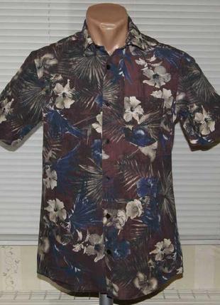"""Рубашка бордо с """"гавайским рисунком"""""""