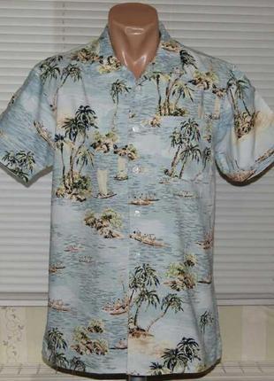 "Рубашка голубая с ""гавайским рисунком"""