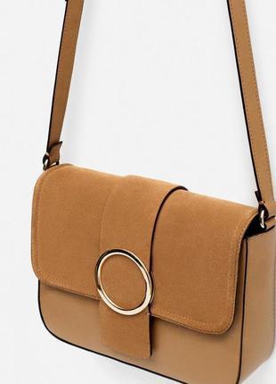 Комбинированная сумка с замшей zara оригинал из испании