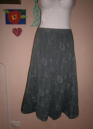 Юбка новая monsoon 46-48 размер серая цветочный принт