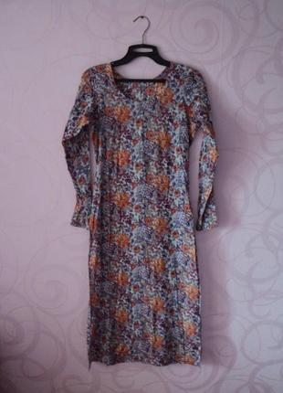 Индийская туника с цветами, туника на пляж, пляжное платье цветочный принт, мягкое платье